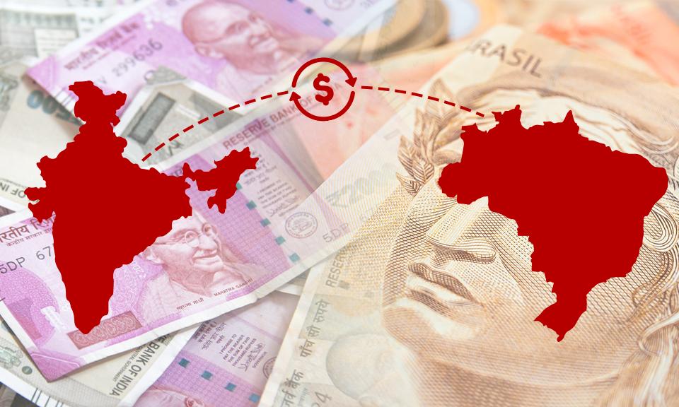 Imagem de capa ilustrando a relação econômica entre Índia e Brasil